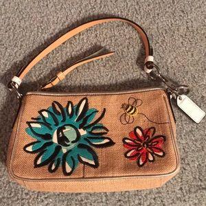 Coach Straw Bumblebee Flower Motif Demi Bag